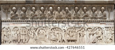 PISA, ITALY - JUNE 06, 2015: Baptistery decoration architrave arches busts Jesus Christ angels saints figures episodes life St John the Baptist, Cathedral in Pisa, Italy, on June 06, 2015 - stock photo