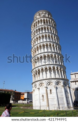 PISA, ITALY - JUNE 06, 2015: Leaning tower of Cathedral in Pisa, Italy. Unesco World Heritage Site, on June 06, 2015
