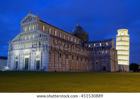 PISA, ITALY - JUNE 16 2016: Luminara di San Ranieri is a candlelight festival that takes place on June sixteenth in Pisa and Leaning Tower of Pisa is illuminated.