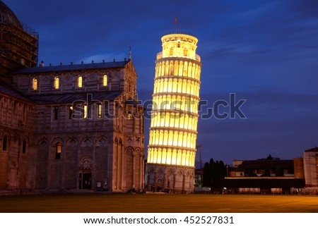 PISA, ITALY - JUNE 16 2016: Luminara di San Ranieri is a candlelight festival that takes place on June sixteenth in Pisa and Leaning Tower is illuminated.