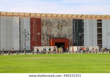 Pisa, Italy - June 29, 2015: Tourists on Piazza del Duomo. Province Pisa, Tuscany region of Italy