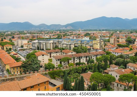 Pisa, Italy - June 29, 2015: View of thecity from the Leaning Tower. Province Pisa, Tuscany region of Italy