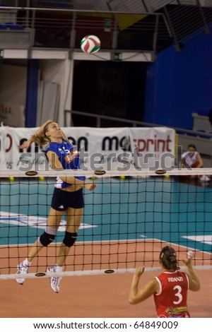 PISA, ITALY - OCTOBER, 31: Volleyball Italian Women A2 League, Chieri vs Biancoforno Santa Croce at PalaParenti on Oct 31 2010, Pisa, Italy