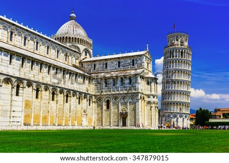 Pisa, Italy. Pisa Cathedral with the Leaning Tower - stock photo