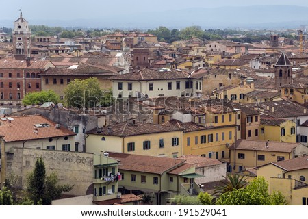 Pisa. Old town from the leaning tower - stock photo
