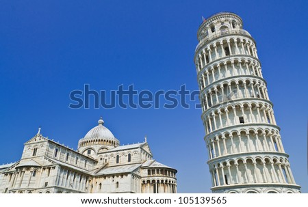 Pisa, Piazza dei miracoli, with the Basilica and the leaning tower, Italy - stock photo
