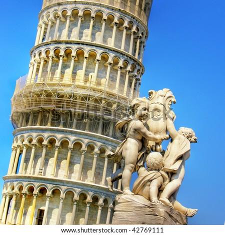 Pisa tower - italian landmarks series - stock photo