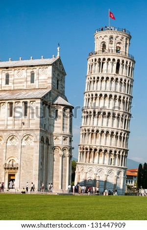 Pisa tower, the leaning tower of Pisa, Italy - stock photo