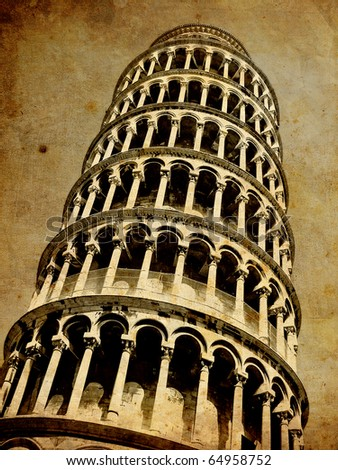 Pisa tower vintage postcard - stock photo