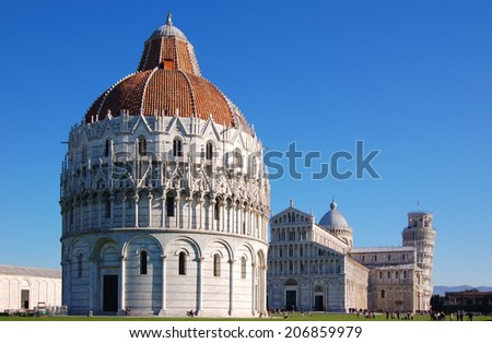 Pisa with the Basilica and the leaning tower.  - stock photo