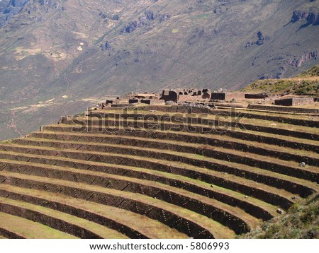 Pisac, Peruvian Terraced Landscape in the Sacred Valley - stock photo