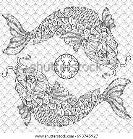 Koi Fish Chinese Carps Adult Antistress Coloring Page Black And White