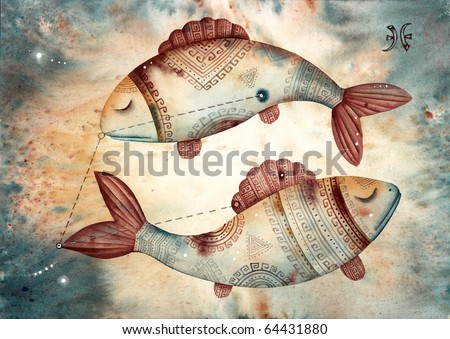 Pisces. Logo-like Zodiac Star - stock photo