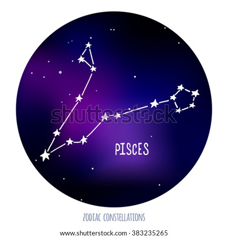 Pisces sign. Zodiacal constellation made of stars on space background.