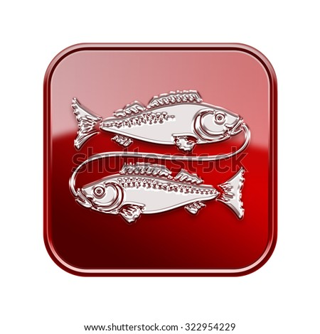 Pisces zodiac icon red, isolated on white background - stock photo