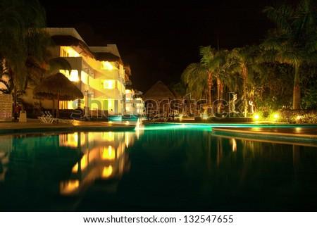 Piscina en la noche, Playa del Carmen, Mexico - stock photo