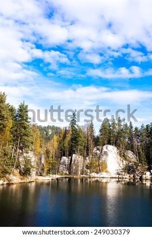 Piskovna lake, Teplice-Adrspach Rocks, Czech Republic - stock photo