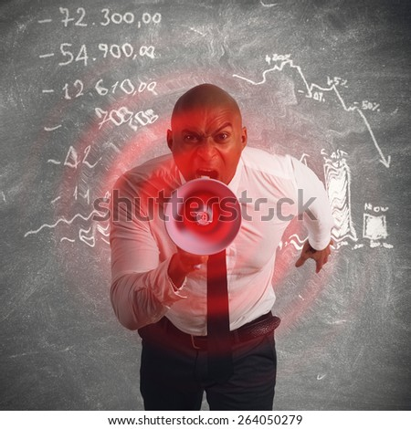 Pissed manager screaming for the investment failure - stock photo