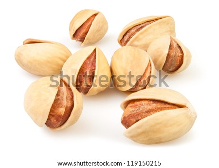 pistachio group on white background - stock photo