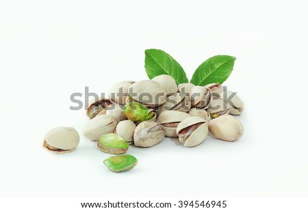 pistachio isolated on white background - stock photo