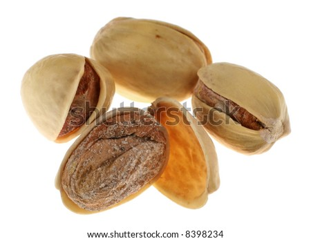 Pistachio nut group isolated on white background