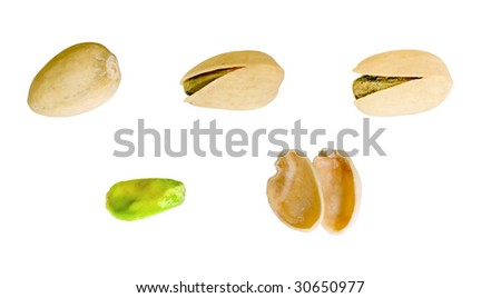 Pistachio nuts isolated on a white background - stock photo