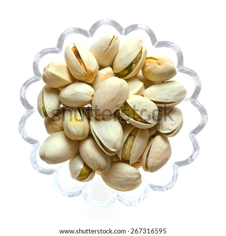 Pistachio nuts isolated on white background, Top view food - stock photo