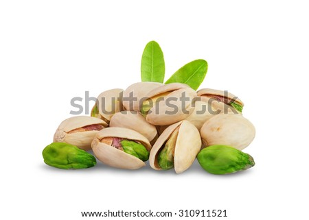 Pistachio nuts with leaf isolated on white background - stock photo