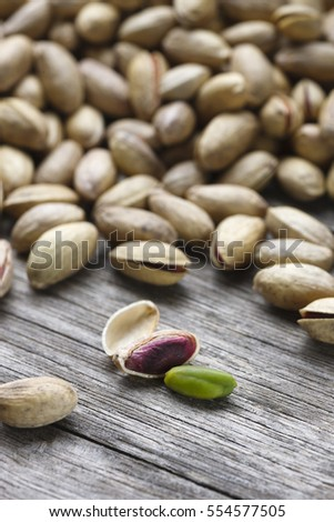 Pistachio on wooden table