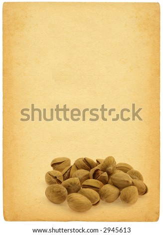 pistachios against retro background - isolated on white