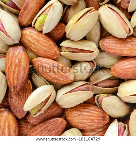 pistachios & almonds - stock photo
