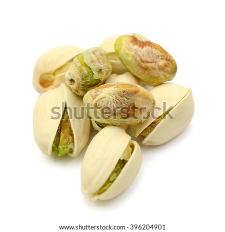 pistachios nuts isolated on the white - stock photo