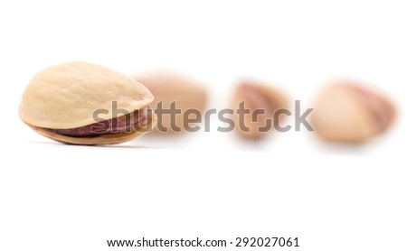 pistachios on a white background. close