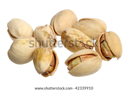 Pistachios on a white background, close-up, isolated