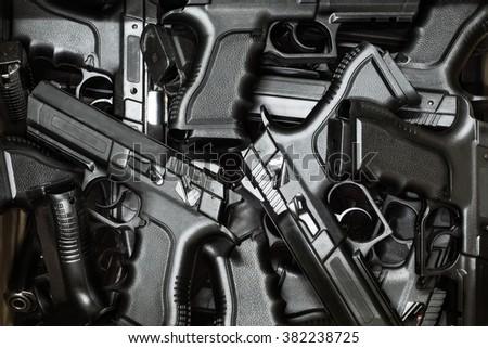 pistol as background - stock photo