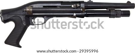 pistol grip shotgun isolated on white - stock photo