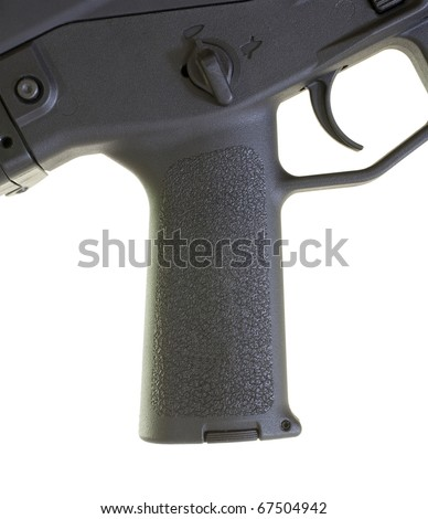 Pistol grip that is found on a black assault weapon - stock photo