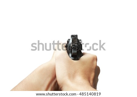 Pistol handgun weapon in hand in first person view isolated on white background