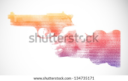 Pistol in hand, isolated on white background