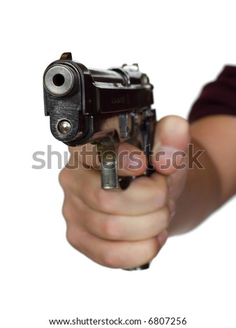Pistol in hand - isolated on white background - stock photo