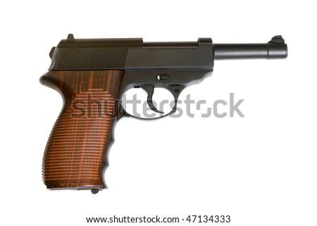 Pistol isolated on the white background - stock photo