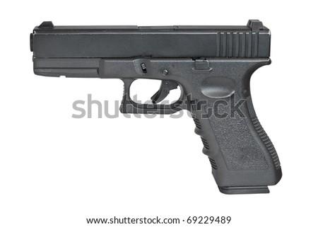 Pistol isolated on white. - stock photo