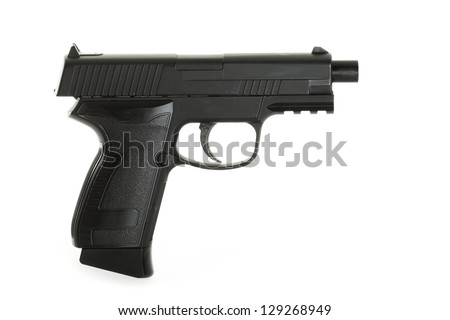 Pistol isolated on white background, design changed, numbers removed, please expect narrow focus