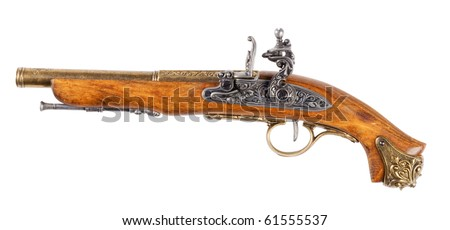 Pistol,isolated on white with clipping path. - stock photo