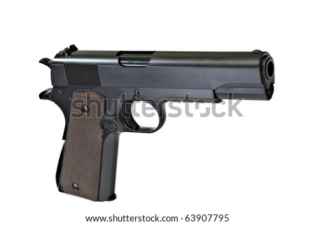 Pistol M1911 NO TM, Isolated. - stock photo