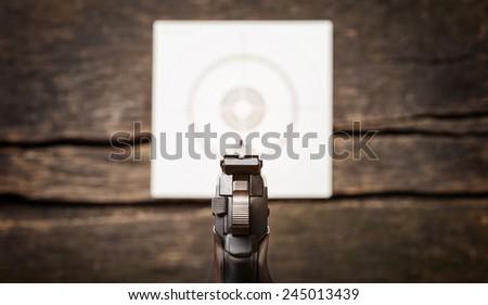 Pistol, target, rear sight, grain - stock photo