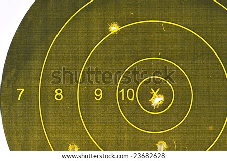 Pistol Target with the bulleye hit - stock photo