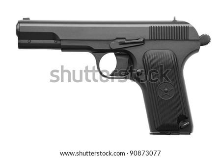 Pistol with a cocked on a white background - stock photo