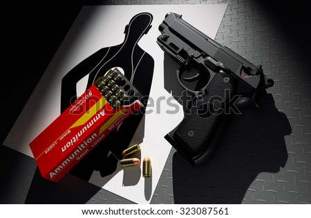 Pistol with ammunition target practice on paper 3d rendering. - stock photo