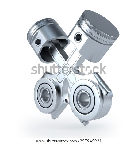 Piston and conrod 3d render on white background - stock photo